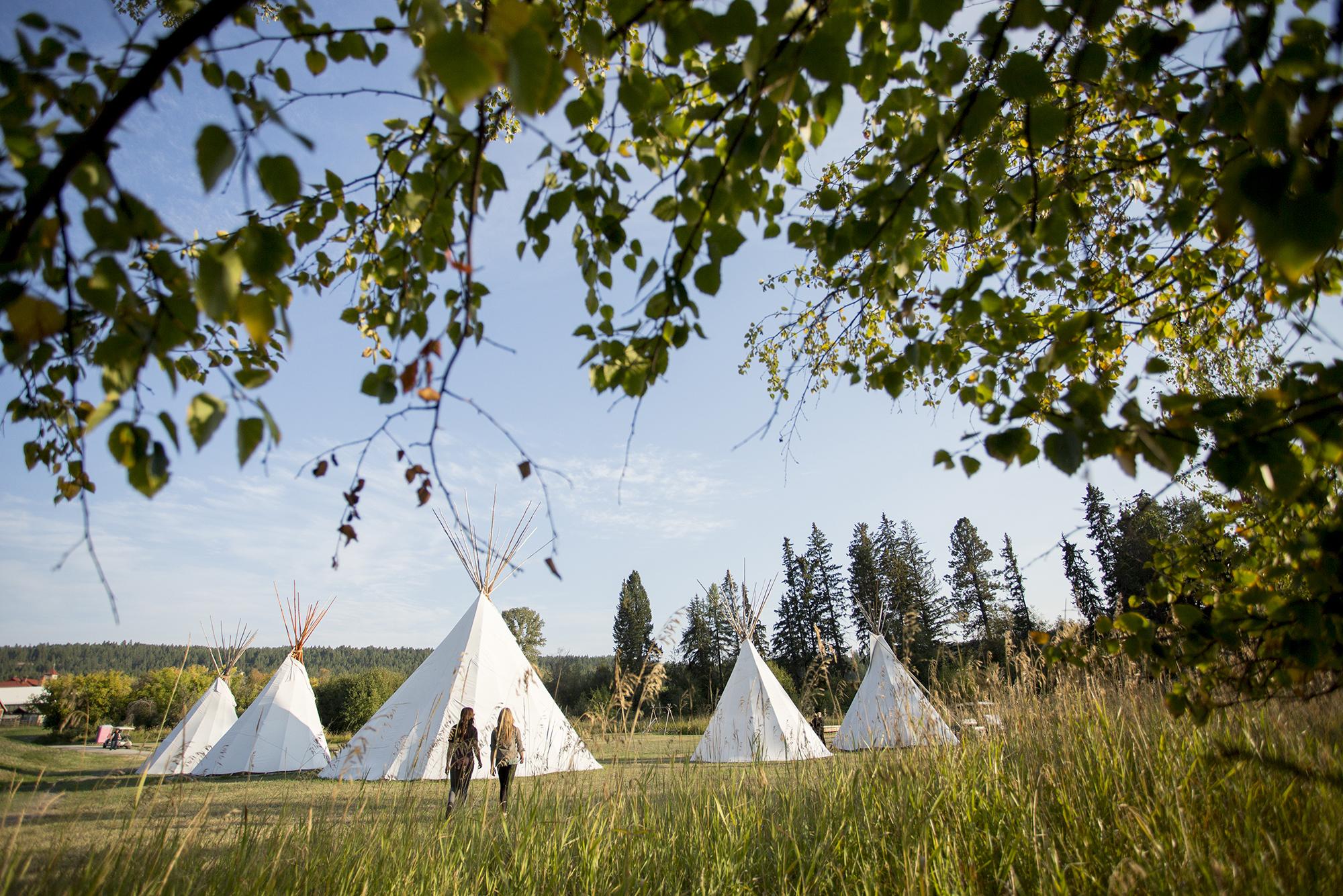 A row of Teepees in Kootenay Rockies
