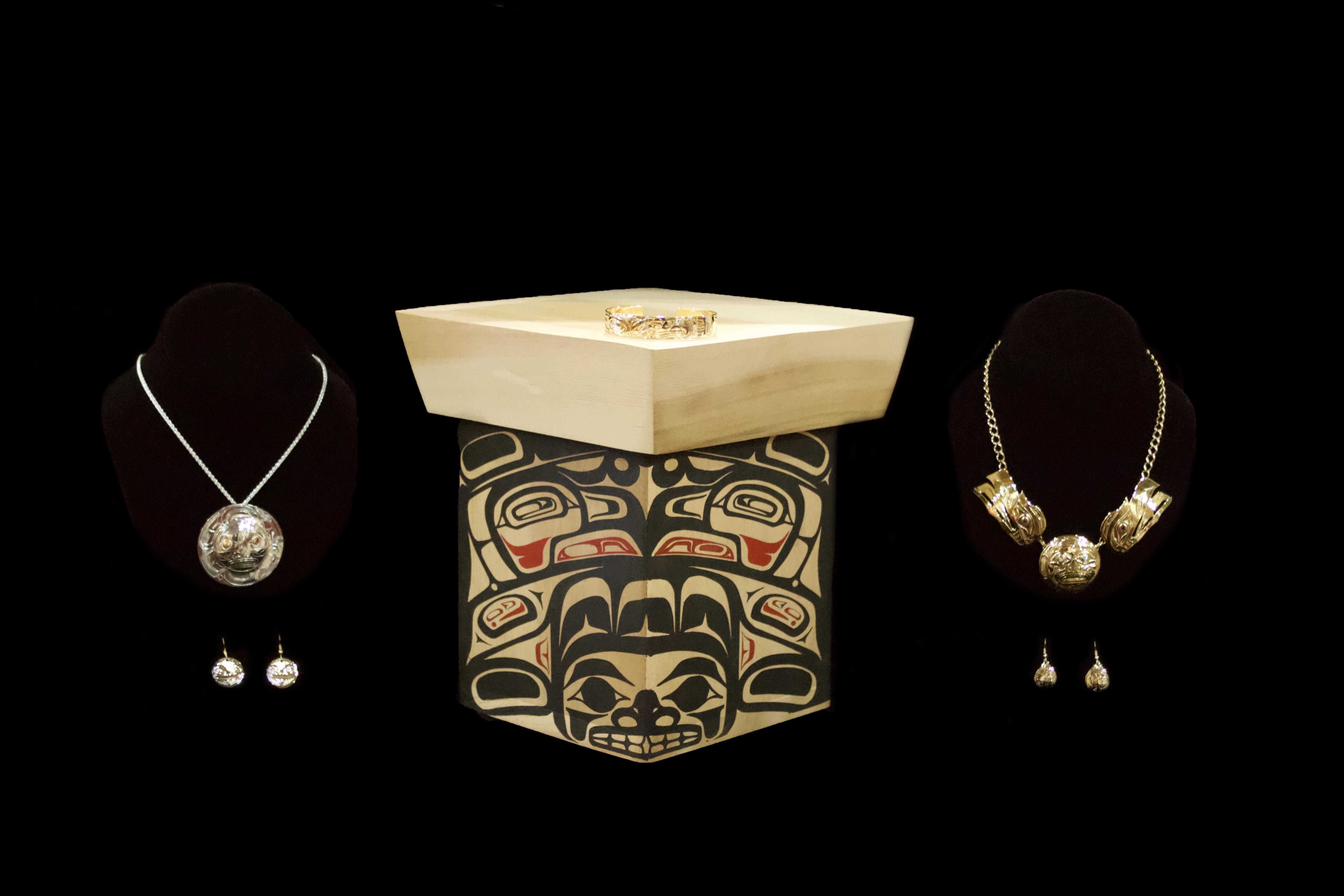 I-Hos Gallery_14k Gold Pendant & Earrings Sterling Silver and 14k gold earrings Raven Mother Cedar box