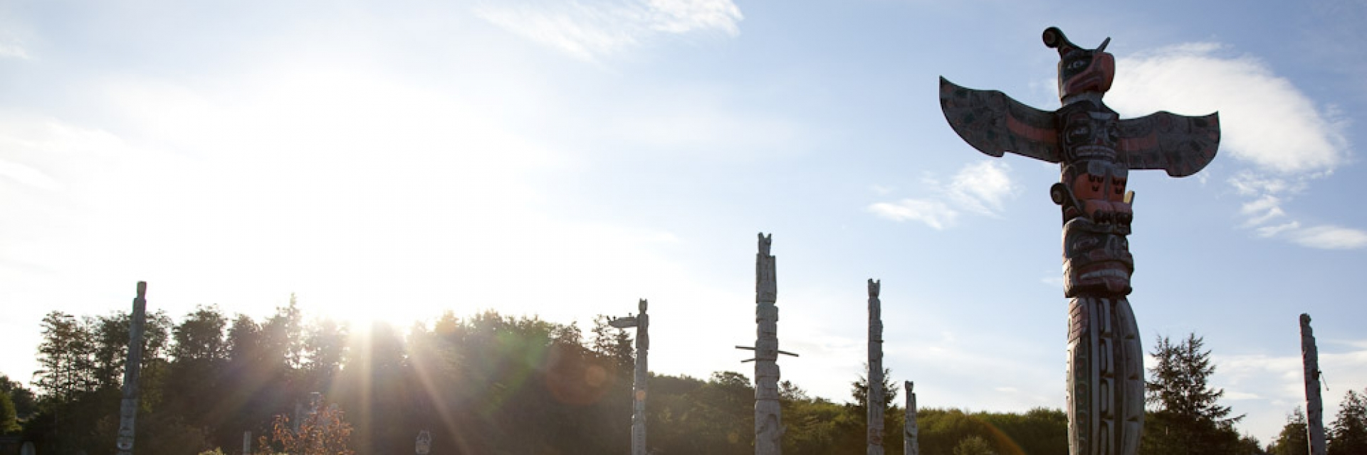 A group of totem poles stand in a grassy field while the sun shines in the background