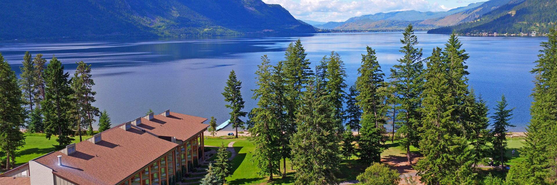 An aerial view of Little Schuswap Lake and Quaaout Lodge & Spa