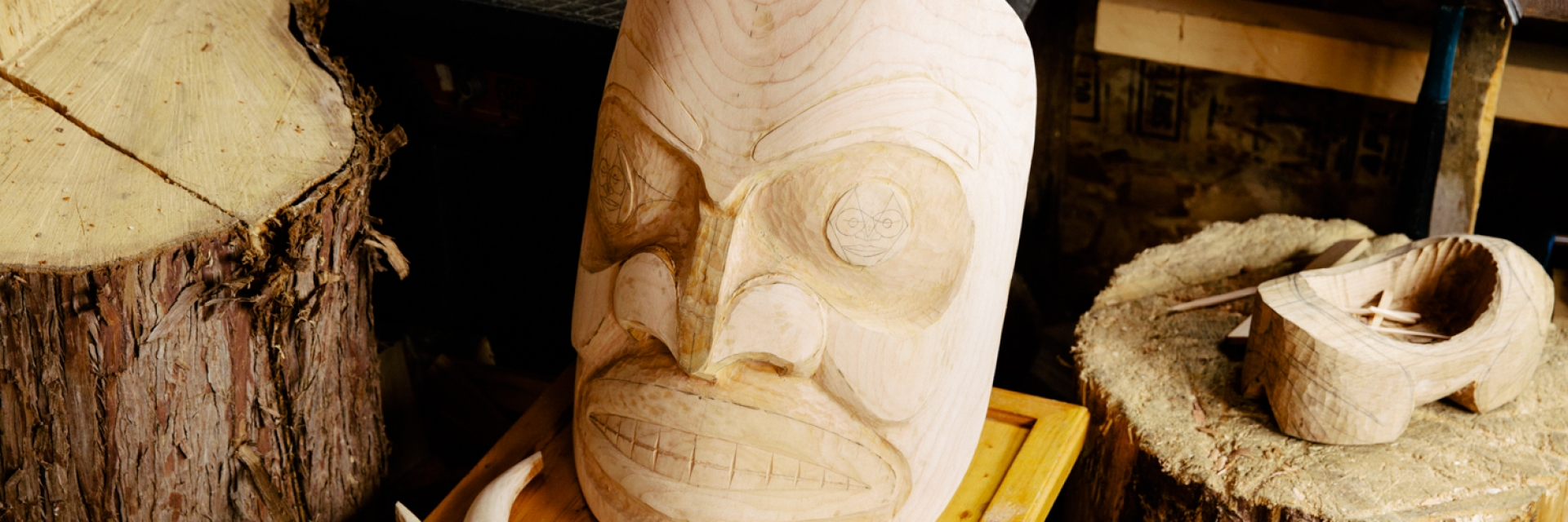 A closeup view of a traditional Indigenous carving