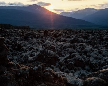 A sunset view of the Nisga'a Memorial Lava Bed Provincial Park