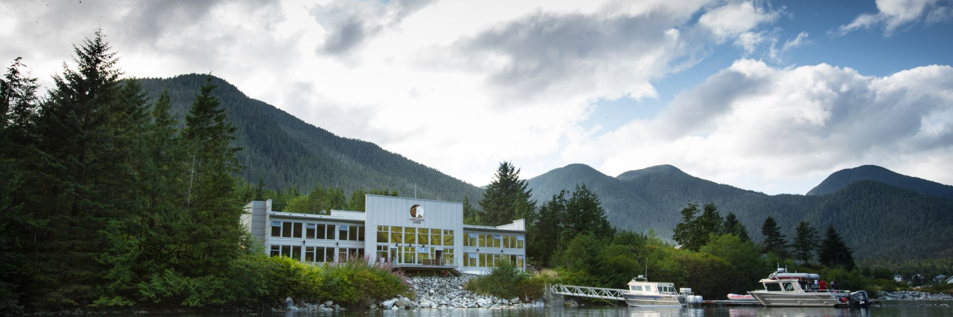 A view of the Spirit Bear Lodge from the water