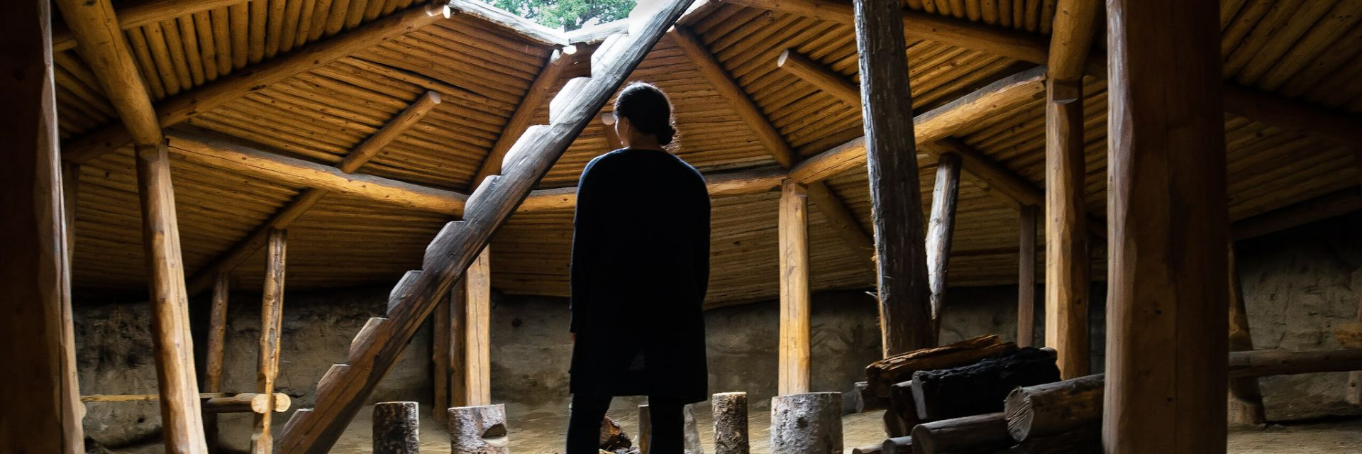 An interior view of a woman standing in a traditional Indigenous hut