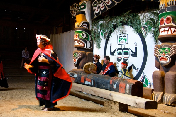 Kumugwe Dancers in Big House, Comox Nation, near I-Hos Gallery