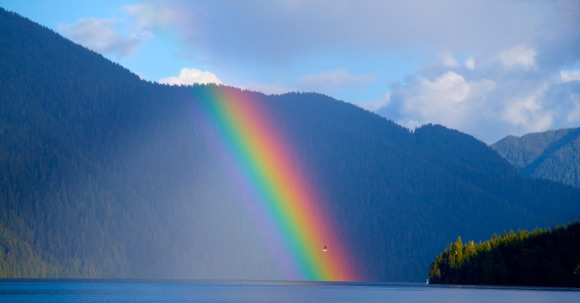 Spirit Bear Quest, B.C., Inside Passage, rainbow