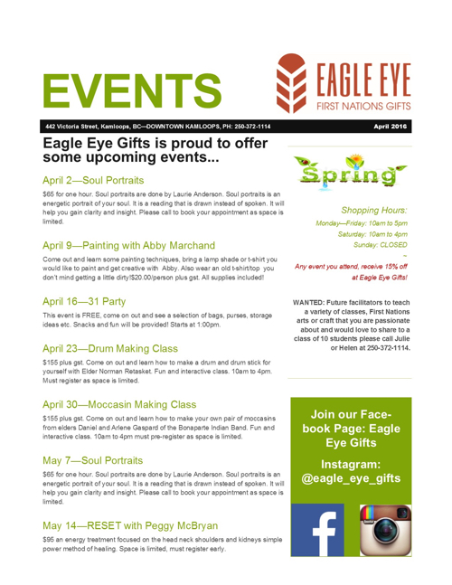 Events Calendar April 2016